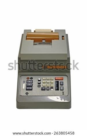 electromechanical calculator,vintage technology,60s - stock photo