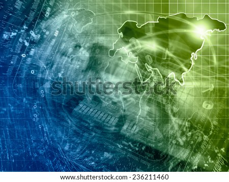 Electronic background with map, device and digits, green and blue toned. - stock photo