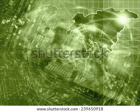 Electronic background with map, device and digits, in sepia. - stock photo