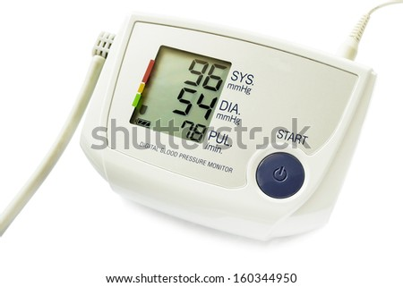 Electronic blood pressure monitor with indication on white background