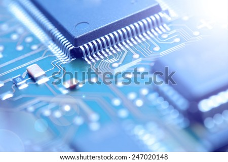 Electronic Board. Small depth of field. Lens flare. Colorize Image - stock photo