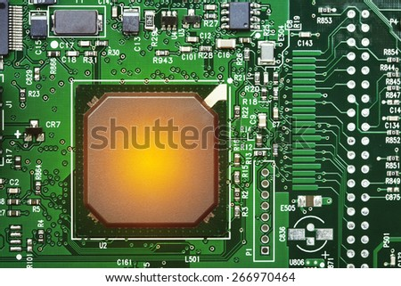 Electronic Board with heated processor - stock photo