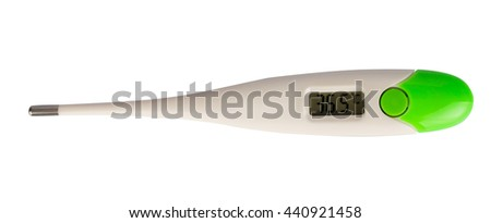 Electronic Body Thermometer showing healthy human body temperature is 36.6 degrees (Celsius). Isolated on white background.
