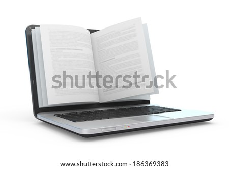 Electronic book. E-reading. E-learning. Laptop with book pages isolated on white.