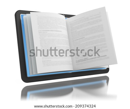 Electronic book. E-reading. E-learning. Tablet with book pages isolated on white.