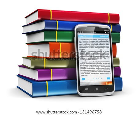 Electronic book media, education and literature reading concept: modern business touchscreen smartphone with book reading application with text and stack of color hardcover books isolated on white - stock photo