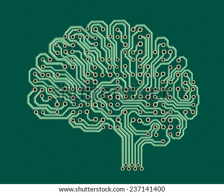 Electronic brain, illustration with a work path - stock photo