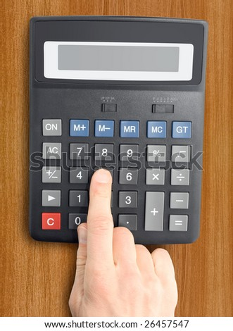 electronic calculator with a hand