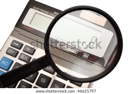Electronic calculator with magnifier