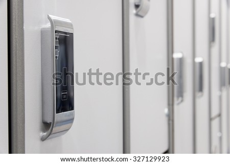 Electronic card-lock on the  wardrobe in a changing room.