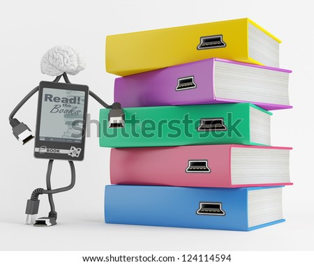 Electronic character symbolizes the contents to be downloaded books - stock photo