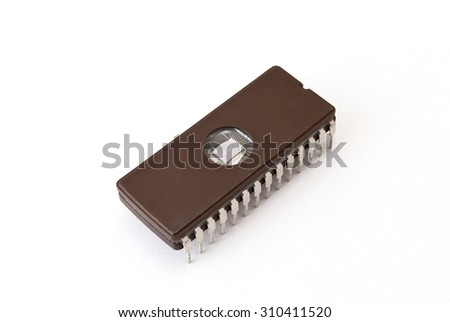 Electronic chip on the white background