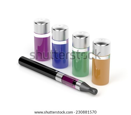 Electronic cigarette and variety refill bottles  - stock photo