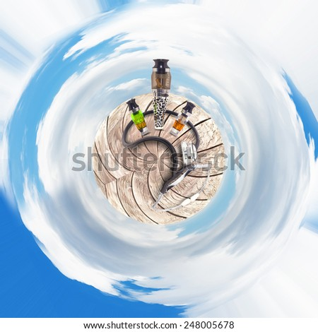 electronic Cigarette in Miniature planet