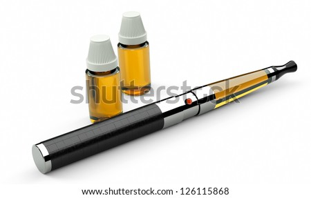 electronic cigarette leather and metal - stock photo