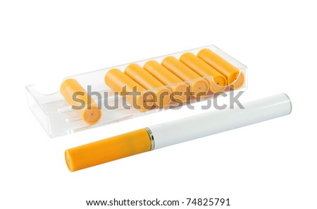electronic cigarette with new cartridges over white - stock photo