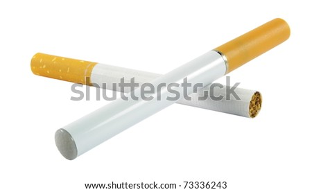 Electronic cigarette with the regular one isolated - stock photo