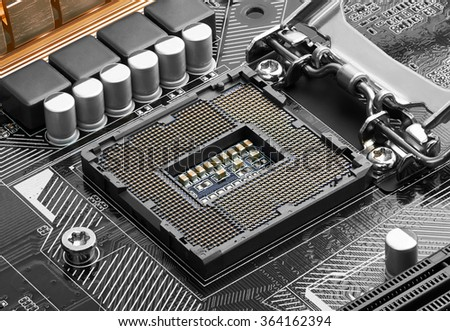 Electronic circuit board, close up.