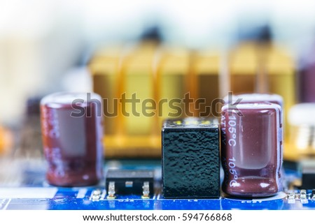 Electronic circuit board, closed up, isolated on white background.