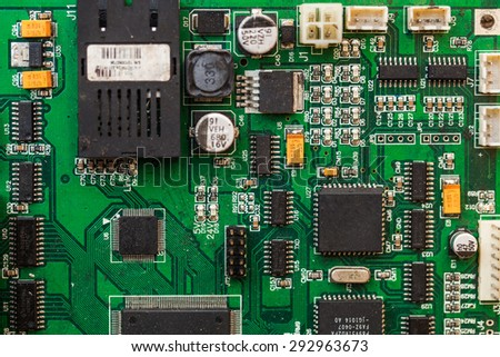 Electronic circuit board with processor.
