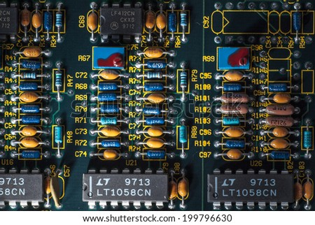 electronic circuit board with processor macro photo 01 - stock photo