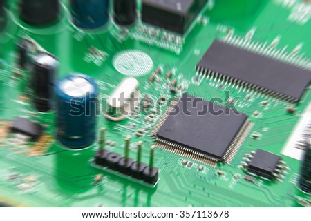 electronic circuit board zoom motion blur