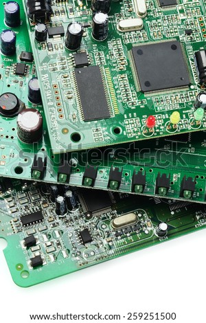 Electronic Circuit Boards On White Background - stock photo
