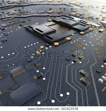 Electronic circuit chip on PC board. High resolution. - stock photo