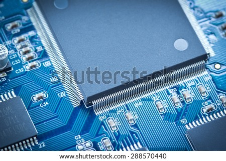 Electronic circuit chip on pcb board - stock photo