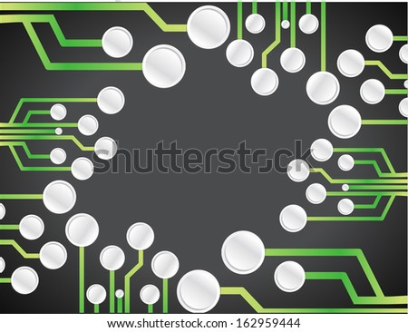 electronic circuit illustration design graphic background over black - stock photo