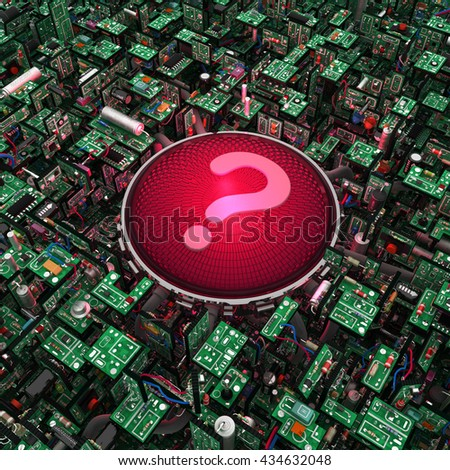 Electronic circuit red question light, 3d illustration, square - stock photo