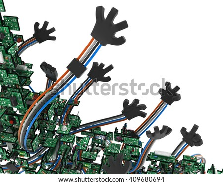 Electronic circuit wired arms, isolated, 3d illustration