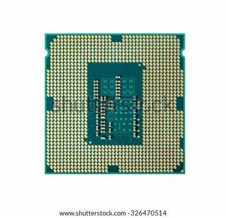 Electronic collection - Computer CPU Processor Chip from the bottom side isolated on white background - stock photo