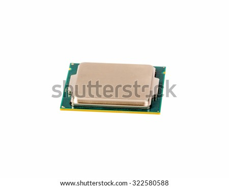 Electronic collection - CPU from the side view isolated on white background - stock photo