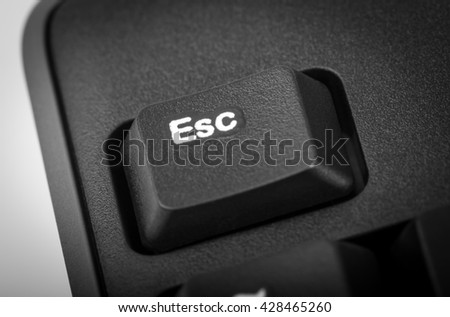 Electronic collection - detail black computer keyboard. The focus on Esc key. - stock photo