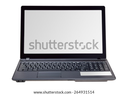 Electronic collection - Modern laptop isolated on a white background - stock photo