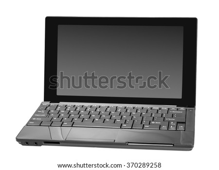 Electronic collection - Modern open laptop (netbook) computer isolated on white background - stock photo