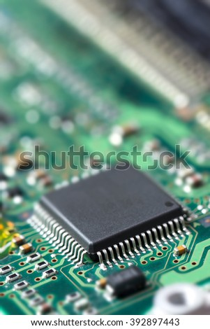 Electronic component on printed circuit board, shallow depth of field