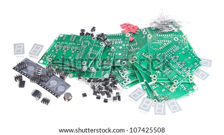Electronic components isolated on white background - stock photo