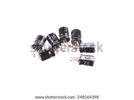 Electronic Components mix, for THT assembly - stock photo