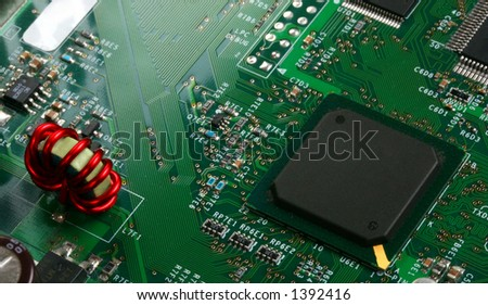 Electronic Components  #2,  Red Wire Coil and CPU