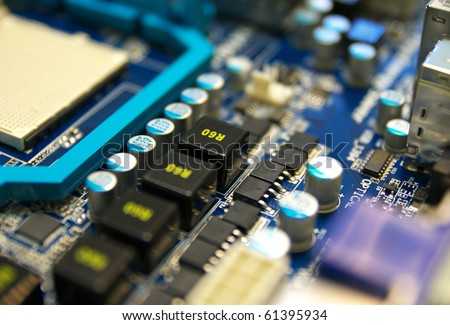 Electronic computer device. Shallow depth-of-field.