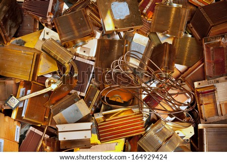 Electronic computer parts separated for copper recycling - stock photo