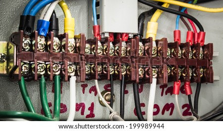electronic control and Industrial power case - stock photo
