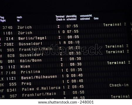 Electronic departure board in Munich - stock photo