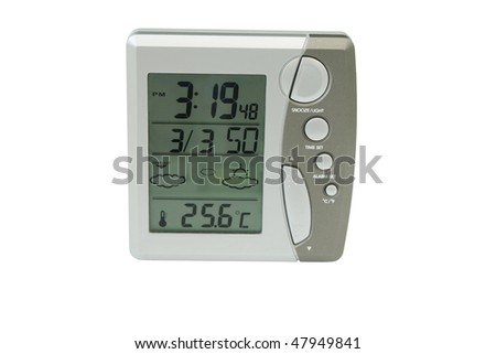 Electronic desk clock. Close-up. Isolated on a white background.