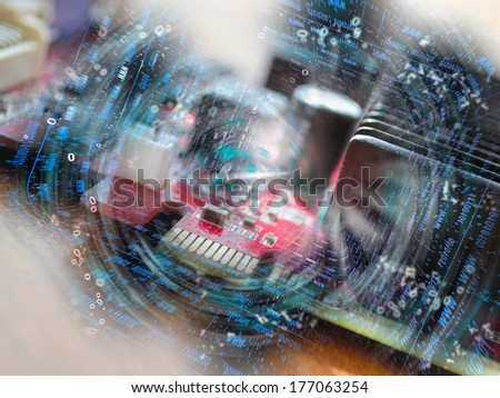 Electronic device and digits - abstract computer background. - stock photo