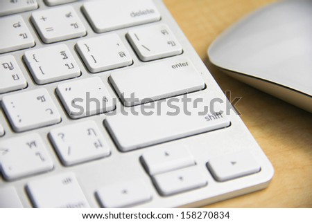 Electronic devices on the desk close up view