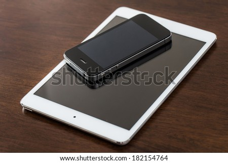 Electronic devices on the table - stock photo