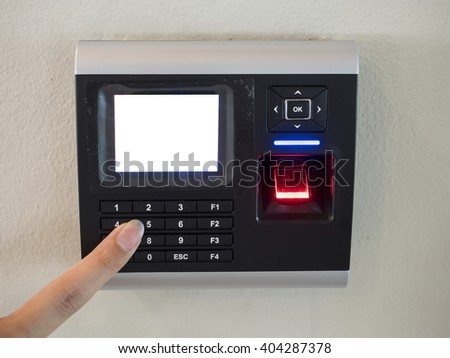 Electronic digital door lock and fingerprint security system with blank screen - stock photo